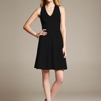 Banana Republic Womens Ponte Cross Back Fit And Flare Dress