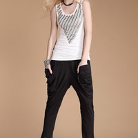 Casual Vest with Peaked Beading Detail