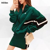 Adidas New fashion letter leaf print long sleeve top coat and skirt two piece suit women Green