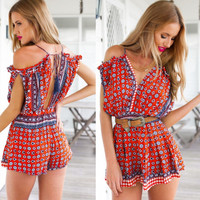 Patterned Off-shoulder Romper