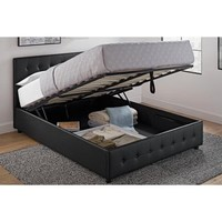 DHP Cambridge Upholstered Bed with Storage, Black, Multiple Sizes - Walmart.com