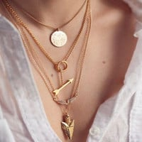 Arrow Pendant Multi-Chain Necklace