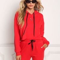 Red Rose Embroidered Cropped Hooded Sweater