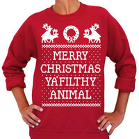 Red Long Sleeve Deer and Letter Print Christmas Sweatshirt