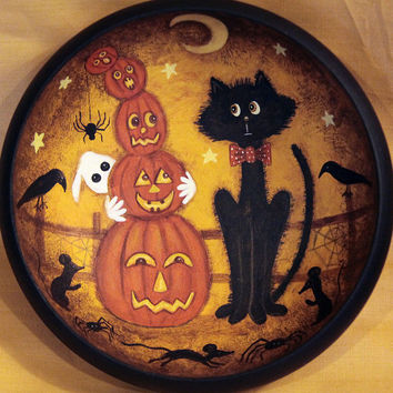 Folk Art Halloween Primitive Wood Bowl - MADE TO ORDER Hand Painted - Nervous Black Cats Watches as Tower of Pumpkins Topples, Ghost, Mice