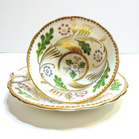 Royal Chelsea Tea Cup, Gold Swirls, Green Leaf, Heavy Gold Rims, Wide Mouth, 1940s