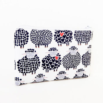 Sheep Pouch, Fabric Pouch, Coin Purse, Change Pouch, Valentine Pouch, Valentine Gift, Fabric Zipper Case, Pouch, Gift for Her, Cute Pouch
