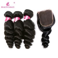 Beauty Grace Hair Brazilian Loose Wave Bundles Human Hair 3 Bundles With Closure 4*4 Natural Black Non Remy Hair With Closure