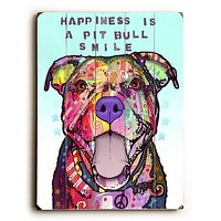 Pit Bull Smile by Artist Dean Russo Wood Sign