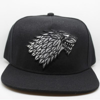 Game of Thrones House Stark of Winterfell  embroid Hat Winter is Coming Dire Wolf Cap For Adult Men Women Teenage Cosplay