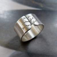 Autumn tree ring, Sterling silver ring, wide band ring, metalwork jewelry, satine finish