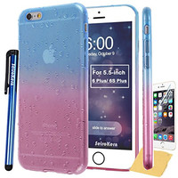 "SeiroKern Thin Soft Raindrop Raindrop Style, (5.5"") iPhone 6 Plus Case, iPhone 6S Plus Skin, Rainbow Gradient Translucent Clear Flexible Gel TPU Cover + Stylus For iPhone 6 Plus /6S Plus (Blue Pink)"