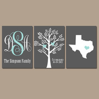 State Family Tree Monogram Wall Art Charcoal Gray Aqua Initials Wedding Gift Last Name Date Tree Birds Custom Personalized Set of 3 Prints