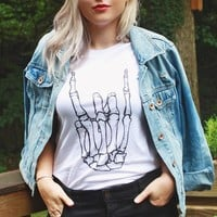 Skeleton Rock Hand Shirt