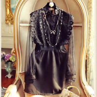 High Quality 2016 New Runway Autumn Lace Dress Women Round Neck Hollow Out Sexy Through Elegant Party Vestidos Black