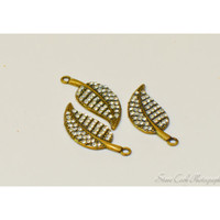 Antiqued brass leaf charms with rhinestones, lot of 3, destash jewelry supplies