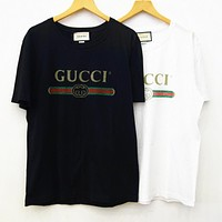 Gucci Popular Leisure Letters Print T-shirt Pullover Top