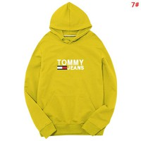 Tommy Autumn And Winter Fashion New Letter Print Women Men Keep Warm Hooded Long Sleeve Sweater 7#