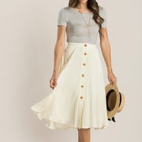 Colette Cream Button Midi Skirt