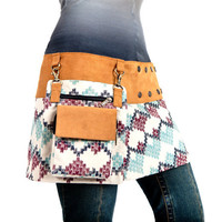 Mini Wrap skirt, tan leather with aztec pattern canvas, fits all sizes, gorgeous as it is useful
