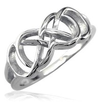 Double Infinity Symbol Ring, Best Friends Forever Ring, Sisters Ring, 8mm Wide in Sterling Silver size 6