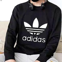 A ADIDAS classic chest large print logo round neck long sleeve sweater