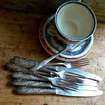 Vintage Silver Knives and Forks, Set of Ten, Oneida Silver Plate, Elegant Pattern, Cottage Kitchen Decor