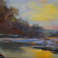 Abstract landscape painting, Sunset Painting Canvas Art, Winter Nature Artwork Yellow Oil Painting