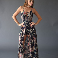 Printed Lace-Up Maxi Overlay Romper - Navy Blue