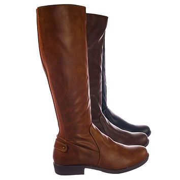 Montage77 Knee High Riding Boots w Faux Fur Inner Lining & Stretch Elastic
