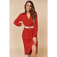 Eyes That Know Me Surplice Dress (Rust)