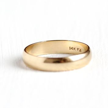1940s Wedding Band - Vintage Retro 14k Solid Rosy Yellow Gold Round Unisex Ring - Size 7 3/4 Mid Century Classic Mens Stacking Fine Jewelry