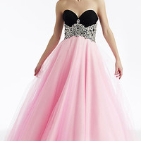 Long Strapless Two Tone Ball Gown