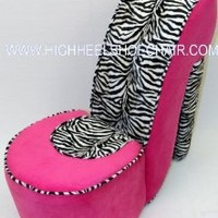 Child Size Pink and Zebra High Heel Shoe Chair