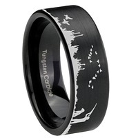 8mm Duck Hunting Outdoor Pipe Cut Brush Black Tungsten Carbide Rings for Mens