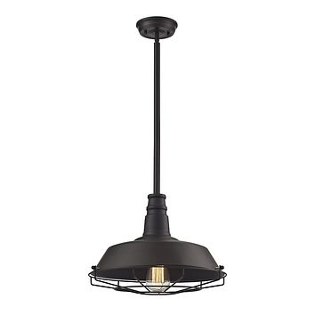 Warehouse Pendant 1-Light Pendant in Oil Rubbed Bronze with Metal Shade and Cage