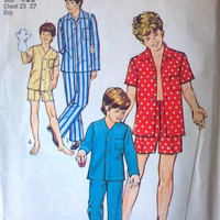 Simplicity 6427 Pattern for Boys & Teens Classic Pajamas, Size 6 and 8, From 1974