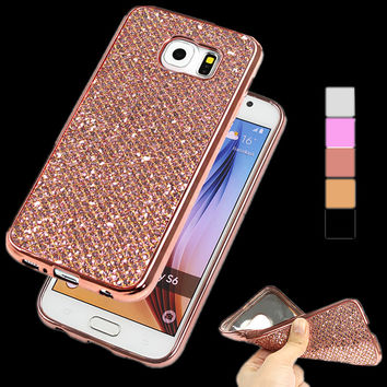 Ultra Thin Plating Glitter Sequins Phone Case For Samsung Galaxy S7 S6 Edge Plus S5 S4 Soft Back Cover For iPhone 7 6 6S Plus 5