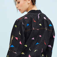 White Pepper Embroidered Dinosaur Jacket