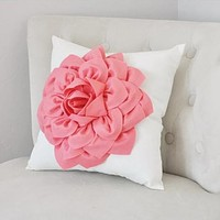Light Coral Dahlia Felt Flower on Ivory Pillow - Pick your Colors - Pink Coral Flower Pillow