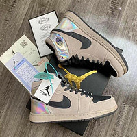 Nike AIR Jordan AJ1 basketball shoes men and women mid-top sports shoes chameleon goose feather yellow lemon silver powder clouds