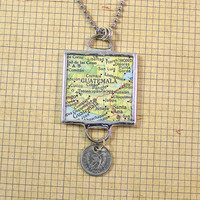 Guatemala Map and Coin Pendant Necklace