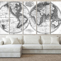 world map wall art canvas print, old vintage world map wall art, rustic map canvas, extra large wall art, black and white world map t512