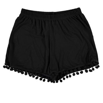 Kenzie Pom Pom Trim High Waisted Shorts