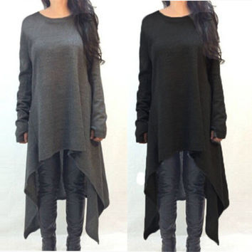 2017 Autumn Women Casual Loose Long Sleeve O neck Knitted Dress