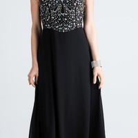 Black Strapless  A-Line Long Formal Dress Beaded Bodice