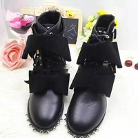 2017 New Style Fashion Genuine Leather Bow Knot Combat Boot Black Leather Studded Women Ankle Boot Punk Girls Rivet Martin Boots