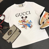 GUCCI New fashion letter mouse print couple top t-shirt