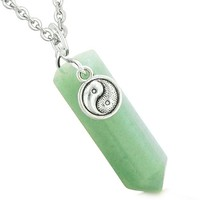 Yin Yang Balance Powers Magic Amulet Crystal Point Pendant Green Quartz 18 Inch Necklace