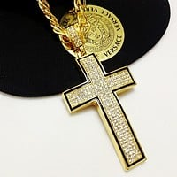 Boys & Men Fashion Hip Hop Versace Cross Necklace